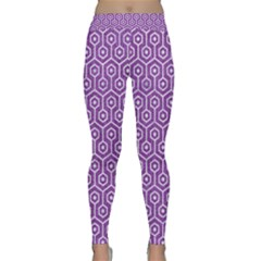 HEXAGON1 WHITE MARBLE & PURPLE DENIM Classic Yoga Leggings