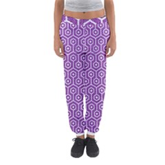 HEXAGON1 WHITE MARBLE & PURPLE DENIM Women s Jogger Sweatpants