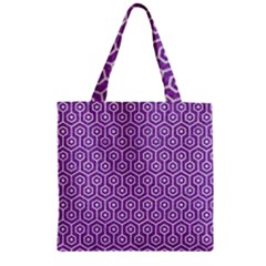 HEXAGON1 WHITE MARBLE & PURPLE DENIM Zipper Grocery Tote Bag