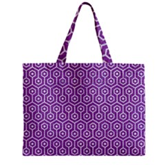 HEXAGON1 WHITE MARBLE & PURPLE DENIM Zipper Mini Tote Bag