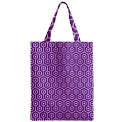 Hexagon1 White Marble & Purple Denim Zipper Classic Tote Bag