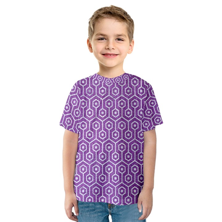 HEXAGON1 WHITE MARBLE & PURPLE DENIM Kids  Sport Mesh Tee