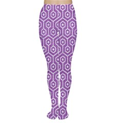 HEXAGON1 WHITE MARBLE & PURPLE DENIM Women s Tights
