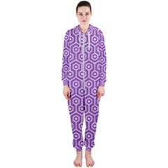 HEXAGON1 WHITE MARBLE & PURPLE DENIM Hooded Jumpsuit (Ladies)