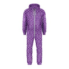 HEXAGON1 WHITE MARBLE & PURPLE DENIM Hooded Jumpsuit (Kids)