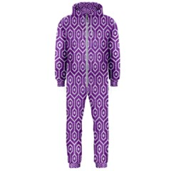 HEXAGON1 WHITE MARBLE & PURPLE DENIM Hooded Jumpsuit (Men)