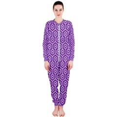 HEXAGON1 WHITE MARBLE & PURPLE DENIM OnePiece Jumpsuit (Ladies)