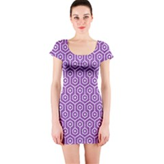 HEXAGON1 WHITE MARBLE & PURPLE DENIM Short Sleeve Bodycon Dress
