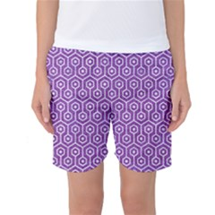 HEXAGON1 WHITE MARBLE & PURPLE DENIM Women s Basketball Shorts