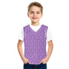 HEXAGON1 WHITE MARBLE & PURPLE DENIM Kids  SportsWear