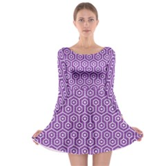 HEXAGON1 WHITE MARBLE & PURPLE DENIM Long Sleeve Skater Dress