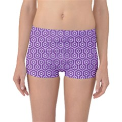 HEXAGON1 WHITE MARBLE & PURPLE DENIM Boyleg Bikini Bottoms