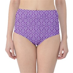 HEXAGON1 WHITE MARBLE & PURPLE DENIM High-Waist Bikini Bottoms