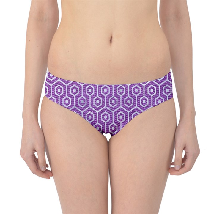 HEXAGON1 WHITE MARBLE & PURPLE DENIM Hipster Bikini Bottoms
