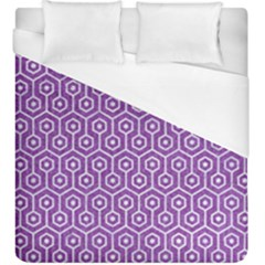 HEXAGON1 WHITE MARBLE & PURPLE DENIM Duvet Cover (King Size)