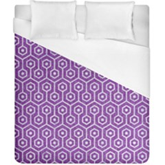 HEXAGON1 WHITE MARBLE & PURPLE DENIM Duvet Cover (California King Size)