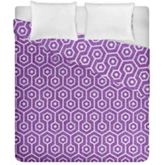 HEXAGON1 WHITE MARBLE & PURPLE DENIM Duvet Cover Double Side (California King Size)