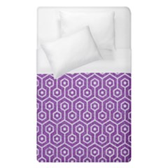 HEXAGON1 WHITE MARBLE & PURPLE DENIM Duvet Cover (Single Size)