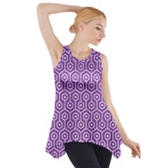 HEXAGON1 WHITE MARBLE & PURPLE DENIM Side Drop Tank Tunic