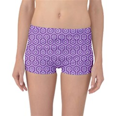 HEXAGON1 WHITE MARBLE & PURPLE DENIM Reversible Boyleg Bikini Bottoms