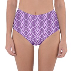 HEXAGON1 WHITE MARBLE & PURPLE DENIM Reversible High-Waist Bikini Bottoms