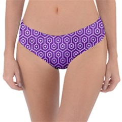 HEXAGON1 WHITE MARBLE & PURPLE DENIM Reversible Classic Bikini Bottoms