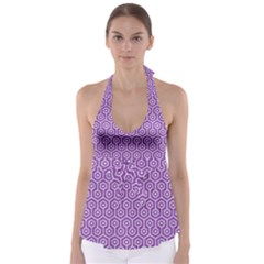 HEXAGON1 WHITE MARBLE & PURPLE DENIM Babydoll Tankini Top