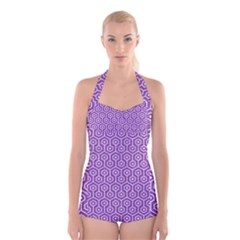 HEXAGON1 WHITE MARBLE & PURPLE DENIM Boyleg Halter Swimsuit