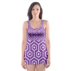 HEXAGON1 WHITE MARBLE & PURPLE DENIM Skater Dress Swimsuit