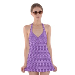 HEXAGON1 WHITE MARBLE & PURPLE DENIM Halter Dress Swimsuit