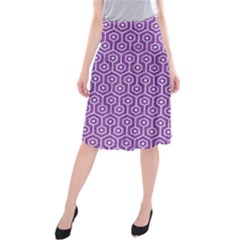 HEXAGON1 WHITE MARBLE & PURPLE DENIM Midi Beach Skirt