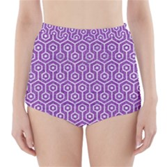 HEXAGON1 WHITE MARBLE & PURPLE DENIM High-Waisted Bikini Bottoms