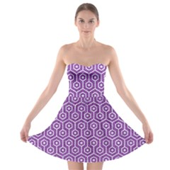 HEXAGON1 WHITE MARBLE & PURPLE DENIM Strapless Bra Top Dress