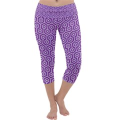 HEXAGON1 WHITE MARBLE & PURPLE DENIM Capri Yoga Leggings