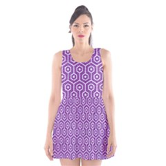 HEXAGON1 WHITE MARBLE & PURPLE DENIM Scoop Neck Skater Dress