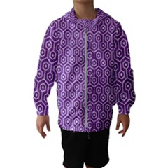 Hexagon1 White Marble & Purple Denim Hooded Wind Breaker (kids) by trendistuff