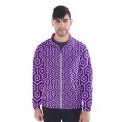HEXAGON1 WHITE MARBLE & PURPLE DENIM Wind Breaker (Men)