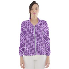 HEXAGON1 WHITE MARBLE & PURPLE DENIM Wind Breaker (Women)