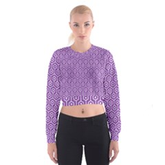 HEXAGON1 WHITE MARBLE & PURPLE DENIM Cropped Sweatshirt