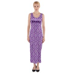 HEXAGON1 WHITE MARBLE & PURPLE DENIM Fitted Maxi Dress