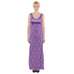 HEXAGON1 WHITE MARBLE & PURPLE DENIM Maxi Thigh Split Dress