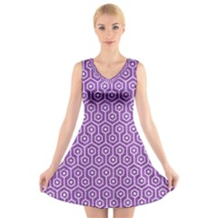HEXAGON1 WHITE MARBLE & PURPLE DENIM V-Neck Sleeveless Dress