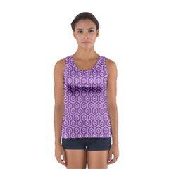 HEXAGON1 WHITE MARBLE & PURPLE DENIM Sport Tank Top