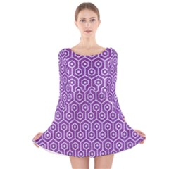 HEXAGON1 WHITE MARBLE & PURPLE DENIM Long Sleeve Velvet Skater Dress