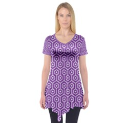 HEXAGON1 WHITE MARBLE & PURPLE DENIM Short Sleeve Tunic
