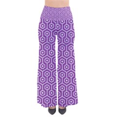 HEXAGON1 WHITE MARBLE & PURPLE DENIM So Vintage Palazzo Pants