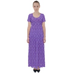 HEXAGON1 WHITE MARBLE & PURPLE DENIM High Waist Short Sleeve Maxi Dress