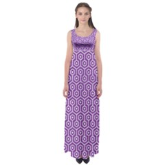 HEXAGON1 WHITE MARBLE & PURPLE DENIM Empire Waist Maxi Dress