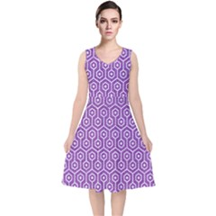 HEXAGON1 WHITE MARBLE & PURPLE DENIM V-Neck Midi Sleeveless Dress