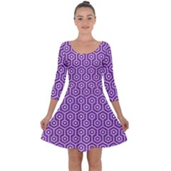 HEXAGON1 WHITE MARBLE & PURPLE DENIM Quarter Sleeve Skater Dress